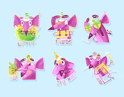 Pink mouse stickers