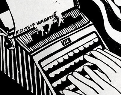 History of Humanity - work in progress linocut