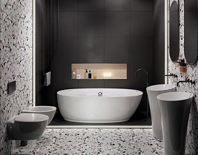 Dark Small Bath Design