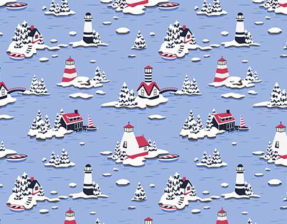 Snowy lighthouses - pattern   Illustrator on iPad