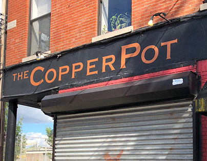 Sign painting for The Copper Pot in Brooklyn, NY.