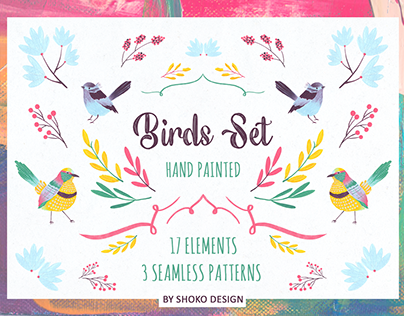 Birds Set - High Quality Hand Painted Elements
