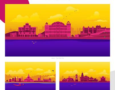 Indian Skyline Vector Illustrations