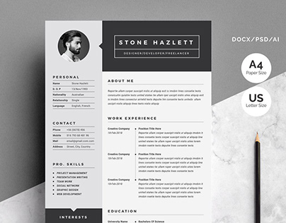 Resume | CV Template 2 Pages
