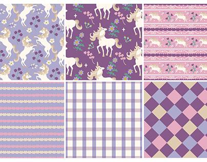 Vintage Unicorn and Floral Pattern Design