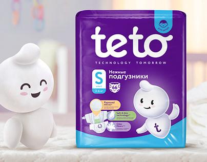 Бренд и упаковка для подгузников Teto