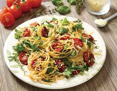 Oven-Dried Tomato, Basil and Arugula Spaghetti