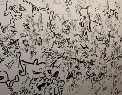 Doodle mural in Gent Arteveldehogeschool - communicatie