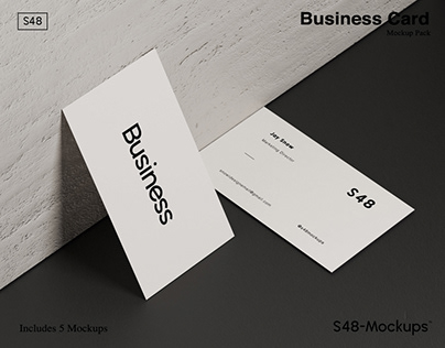 White Business Card Mockup Pack with Download