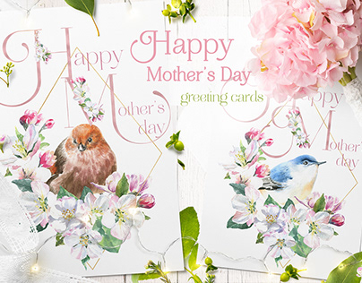 Watercolor Happy Mother's Day Greeting Cards, Templates