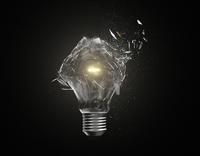 4K Isolated Lightbulb Shatter