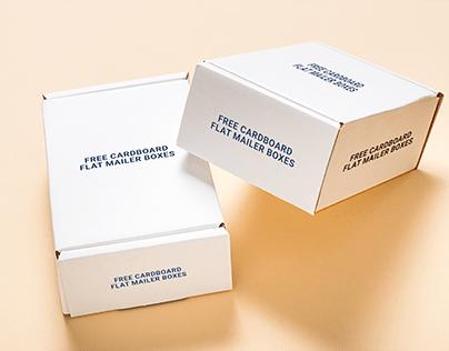 FREE CARDBOARD FLAT MAILER BOXES Mockup