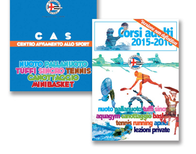 New brochures for Canottieri Milano sport courses.