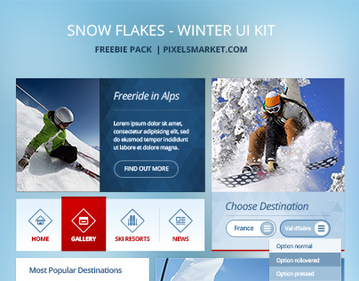 Snow Flakes, Free Winter UI Kit