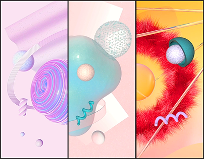 Synesthesia. Posters series. Animated 3D compositions.