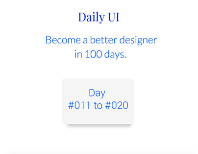 Daily UI #011 to #020