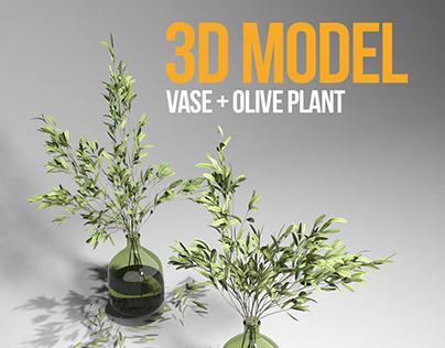 FREE 3D MODEL : OLIVE PLANT & GREEN GLASS VASE