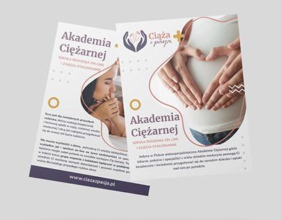 Two sided flyier for Akademia Ciężarnej