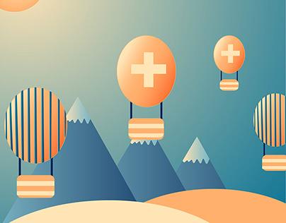 Swiss hot air balloon festival motion graphic