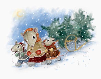 """postcard """"christmas mice"""""""