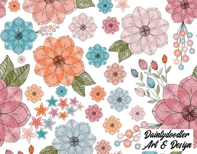 Print & Pattern Design - Whimsical Watercolor Blossoms
