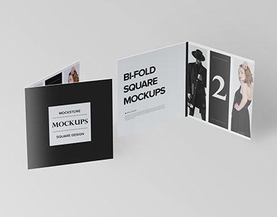 Bi-fold Square Brochure Mockups | Free download