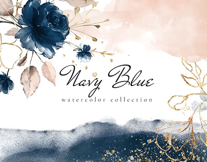 Navy Blue -Watercolor Collection