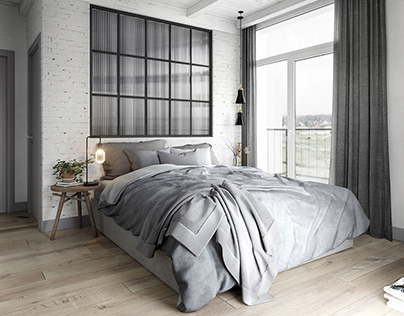 Gray and white badroom in loft