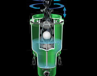 Golf ball washer, cutaway technical illustration