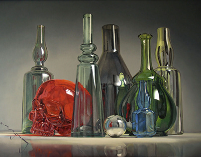 Still Life With Red Skull, oil on canvas, 2018