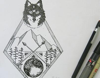 Spirit Wolf Wild Adventure Ink Illustration