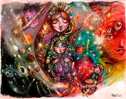 Illustrations. Fragment of the Universes - Matryoshka.