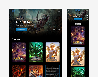 Blizzard web site concept. With mobile