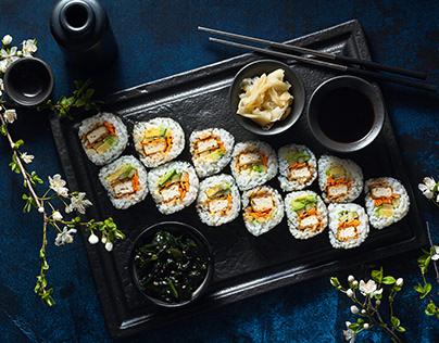 vegan sushi with tofu in General Tso sauce and avocado