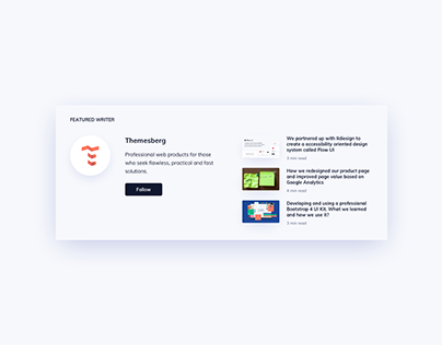 Day 1029 • Featured Writer Section UI Design