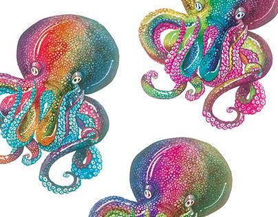 Rainbow octopus pattern