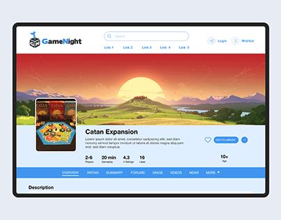 GameNight - BoardGames website design