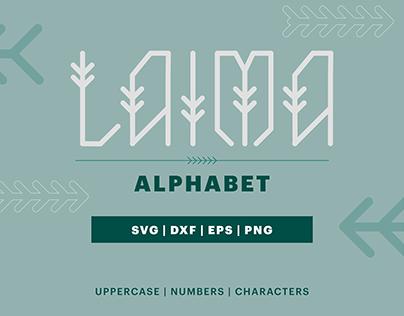 LAIMA alphabet letters: SVG, DXF, EPS, PNG