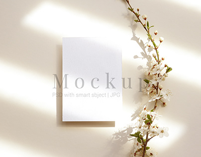 Card Mockup With Branch Of Blooming Flowers