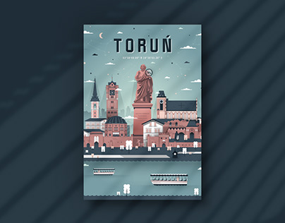 Polish Cities. Flat design style posters series.