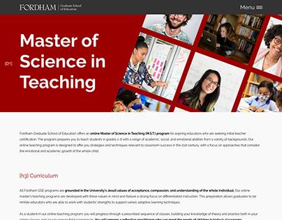 Fordham Education Tracks Website Layout Mockup