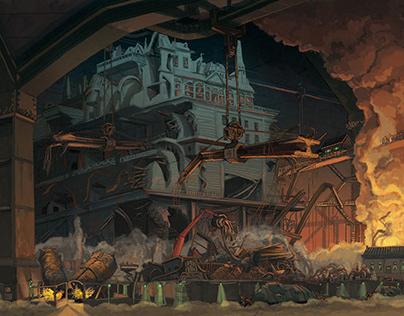 'Mortal Engines' graphic novel illustrations.