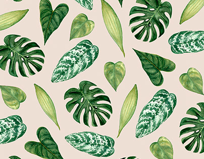 SURFACE PATTERN DESIGN - Leaves watercolor