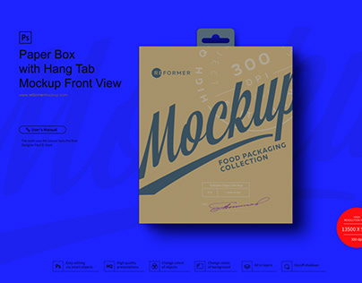 Paper Box with Hang Tab Mockup Front View
