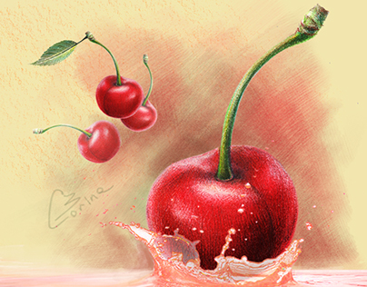 CHERRY SWEETNESS IN COLORED PENCILS