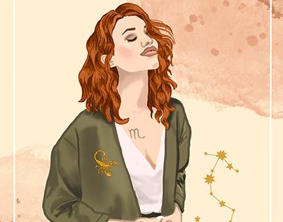 Zodiac girl Scorpio Illustration