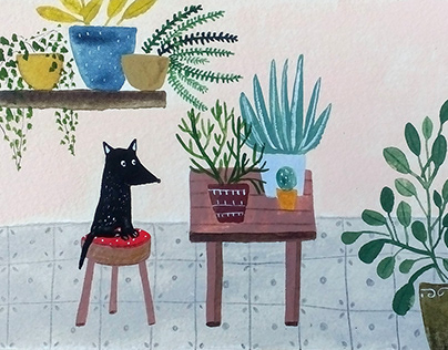 Dog with plants