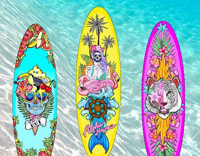 El dios de los tres costumized surf board