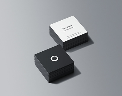 Square Business Card Stacks Mockup