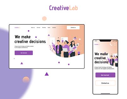 Landing page for Creative Studio